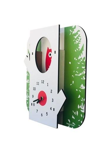 Peoples Clock Ağaç Baykuş Özel Tasarım Duvar Saati  Renkli